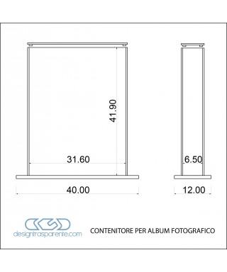 Contenitore per album matrimoni 31x6h41 in plexiglass trasparente su misura
