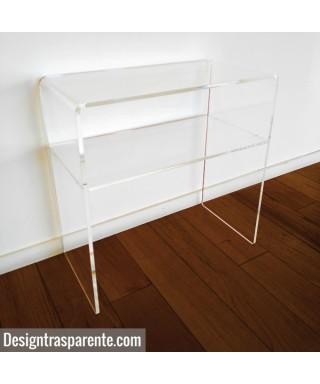Tavolino con ripiano 40x40h80 per divani in plexiglass trasparente