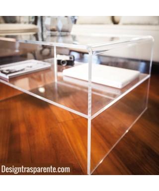 Tavolino con ripiano 60x30h50 per divani in plexiglass trasparente