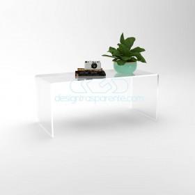 Tavolino a ponte cm 80x80 tavolo da salotto in plexiglass trasparente