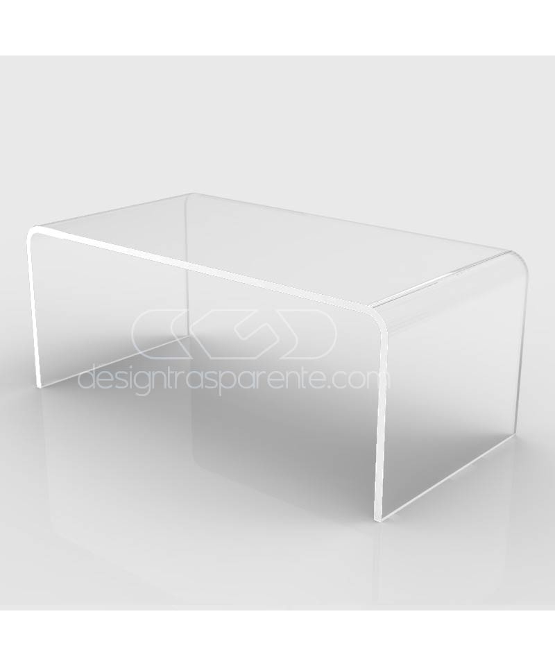 Mesa auxiliar cm 80x50 mesita baja de centro metacrilato transparente