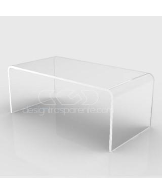 Tavolino a ponte cm 80x70 tavolo da salotto in plexiglass trasparente