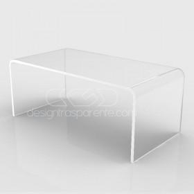 Mesa auxiliar cm 90x70 mesita baja de centro metacrilato transparente