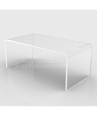 Mesa auxiliar cm 90x90 mesita baja de centro metacrilato transparente