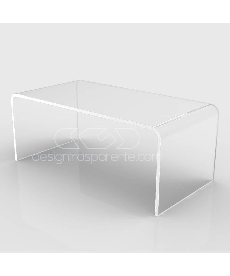 Tavolino a ponte cm 100x90 tavolo da salotto in plexiglass trasparente