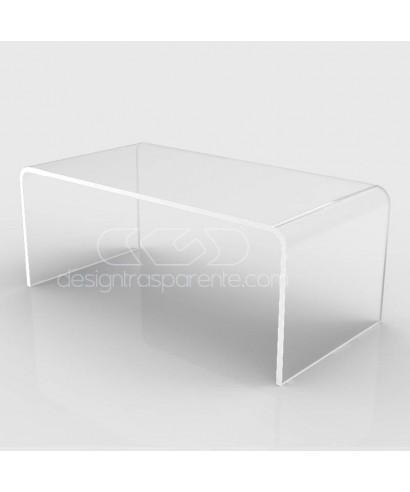 Tavolino a ponte cm 100x100 tavolo da salotto in plexiglass trasparente