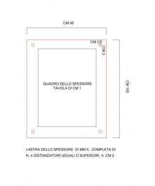 Pannello in plexiglass trasparente cm 95x105 fori e bordo lucido