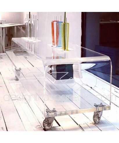 Carrello TV 55x50 mobile per plasma con ruote, ripiani in plexiglass