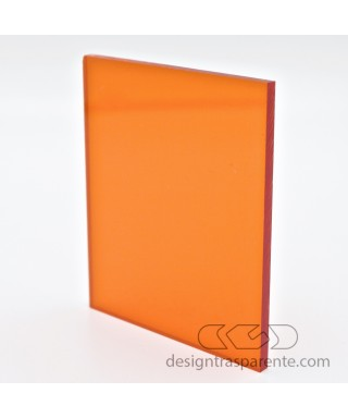 Pannello in plexiglass arancione trasparente taglio laser come da disegno