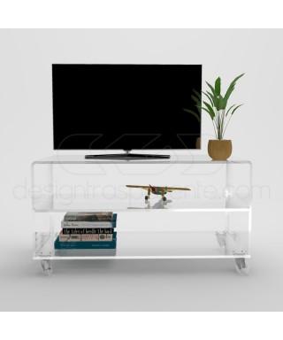 Carrello SU MISURA 70x35H70 mobile porta TV in plexiglass trasparente