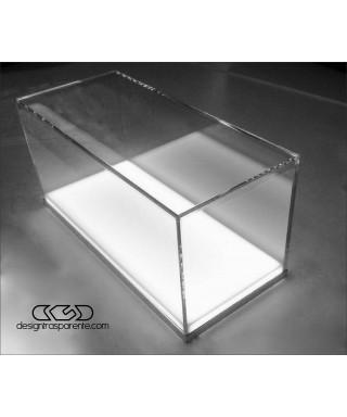Teca espositiva in plexiglass composta da un coperchio trasparente e una base bianca illuminata, Dimensioni interne del box cm 4