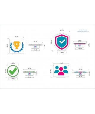 4 Trofei in plexiglass personalizzati come da disegno