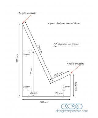3 sagome in plexiglass trasparente taglio laser su misura