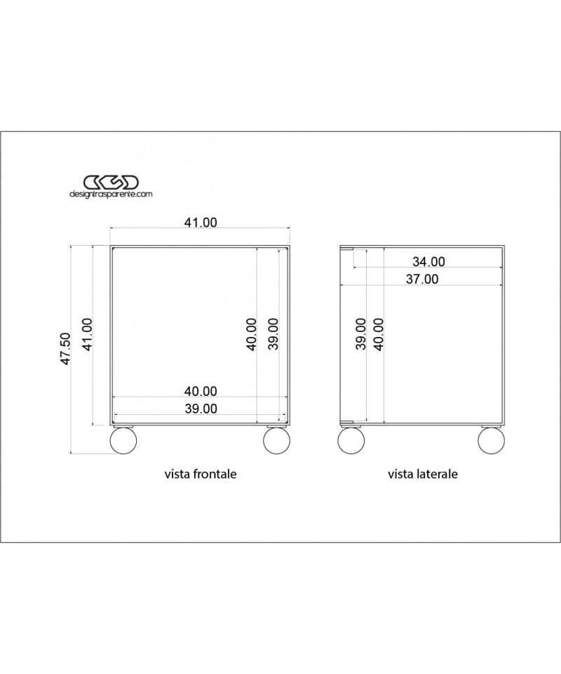 Box contenitore per vinili 33 giri in plexiglass trasparente e ruote