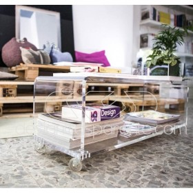 Acrylic clear rolling TV stand 70x30 with wheels, lucite shelves
