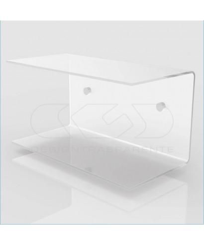 Comodino sospeso cm 40x20 mensola doppia in plexiglass modello a C