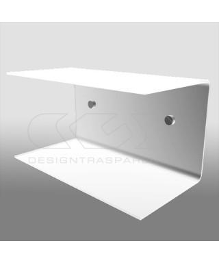 Comodino sospeso cm 25x15 mensola doppia in plexiglass modello a C