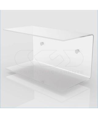 Comodino sospeso cm 45x20 mensola doppia in plexiglass modello a C