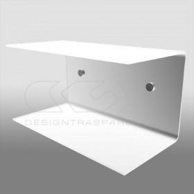 Mensola a C cm 55x20 in plexiglass, salvaspazio con  doppio ripiano