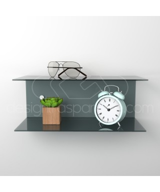 Acrylic 55x20 wall-mounted night table and bedside shelf