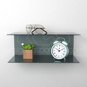 Acrylic 60x15 wall-mounted night table and bedside shelf
