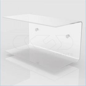 Mesilla flotante 65x20 estante doble balda en metacrilato