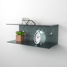 Acrylic 70x15 wall-mounted night table and bedside shelf
