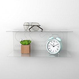 Acrylic 45x15 wall-mounted night table and bedside shelf