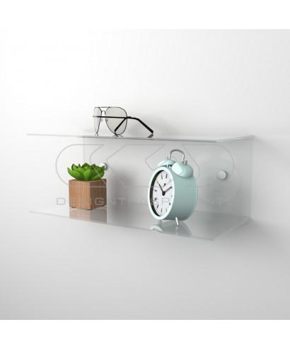Acrylic 45x20 wall-mounted night table and bedside shelf