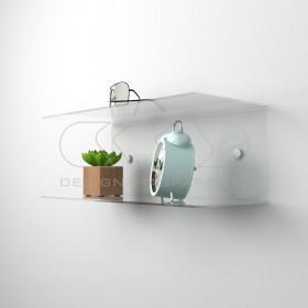 Mensola a C cm 70x20 in plexiglass, salvaspazio con  doppio ripiano