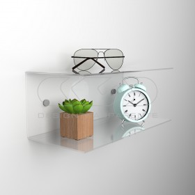 Acrylic 80x15 wall-mounted night table and bedside shelf