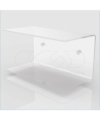 Mensola a C cm 80x15 in plexiglass, salvaspazio con  doppio ripiano