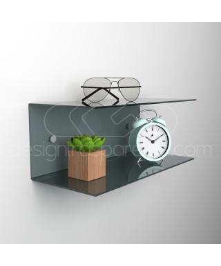 Acrylic 75x20 space-saving C-shaped double shelf
