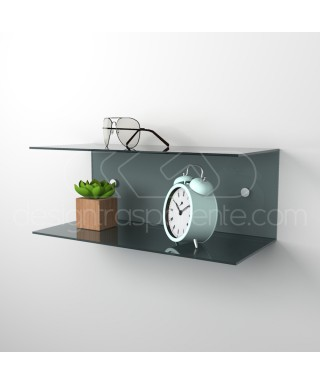 Acrylic 95x20 wall-mounted night table and bedside shelf
