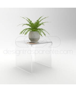 Tavolino a ponta SU MISURA cm L35 P40 in plexiglass trasparente