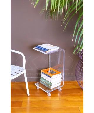 Tavolino-Comodino L30H60 carrello servitore portariviste in plexiglass