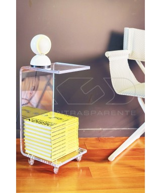 W30H60 bedside table or serving trolley with magazine rack