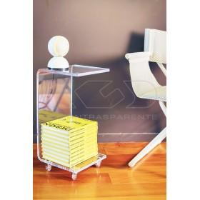 Tavolino-Comodino L40H60 carrello servitore portariviste in plexiglass