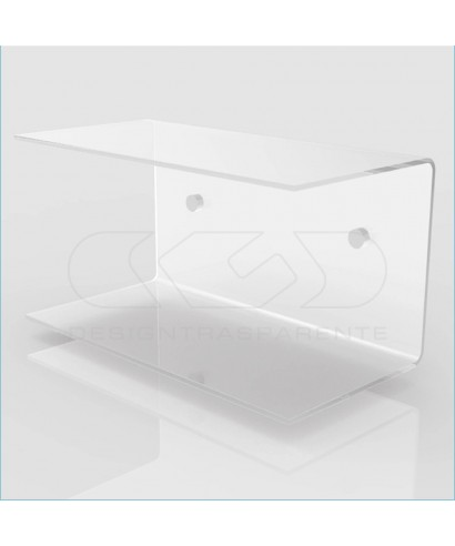 2 Mensole a C cm 99x20 in plexiglass, su misura con  doppio ripiano