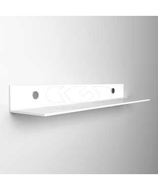 Wall shelf cm 65 transparent or colored acrylic no need brackets