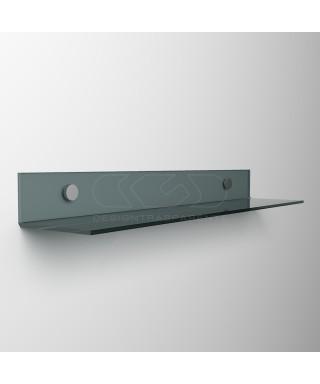 Mensola a L cm 65 in plexiglass trasparente o colorato senza staffe