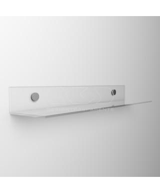 Mensola a L cm 75 in plexiglass trasparente o colorato senza staffe