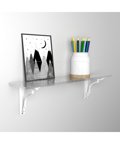 Wall shelf cm 20 acrylic transparent shelf with shiny edge