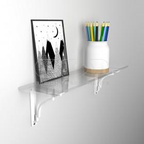 Wall shelf cm 35 acrylic transparent shelf with shiny edge
