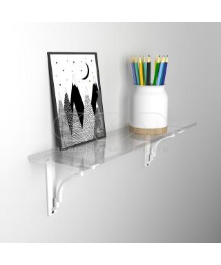 Wall shelf cm 40 acrylic transparent shelf with shiny edge