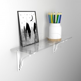 Wall shelf cm 45 acrylic transparent shelf with shiny edge
