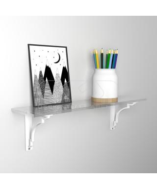 Wall shelf cm 65 acrylic transparent shelf with shiny edge