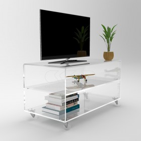Acrylic clear rolling TV stand 40x30 with wheels, lucite shelves