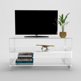 Acrylic clear rolling TV stand 40x40 with wheels, lucite shelves