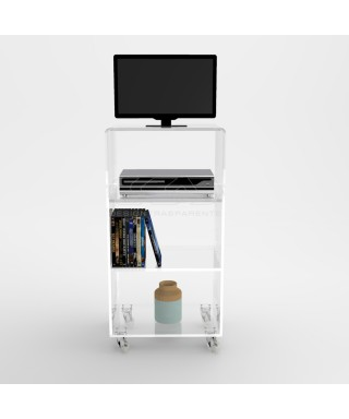 Acrylic clear rolling TV stand 50x50 with wheels, lucite shelves